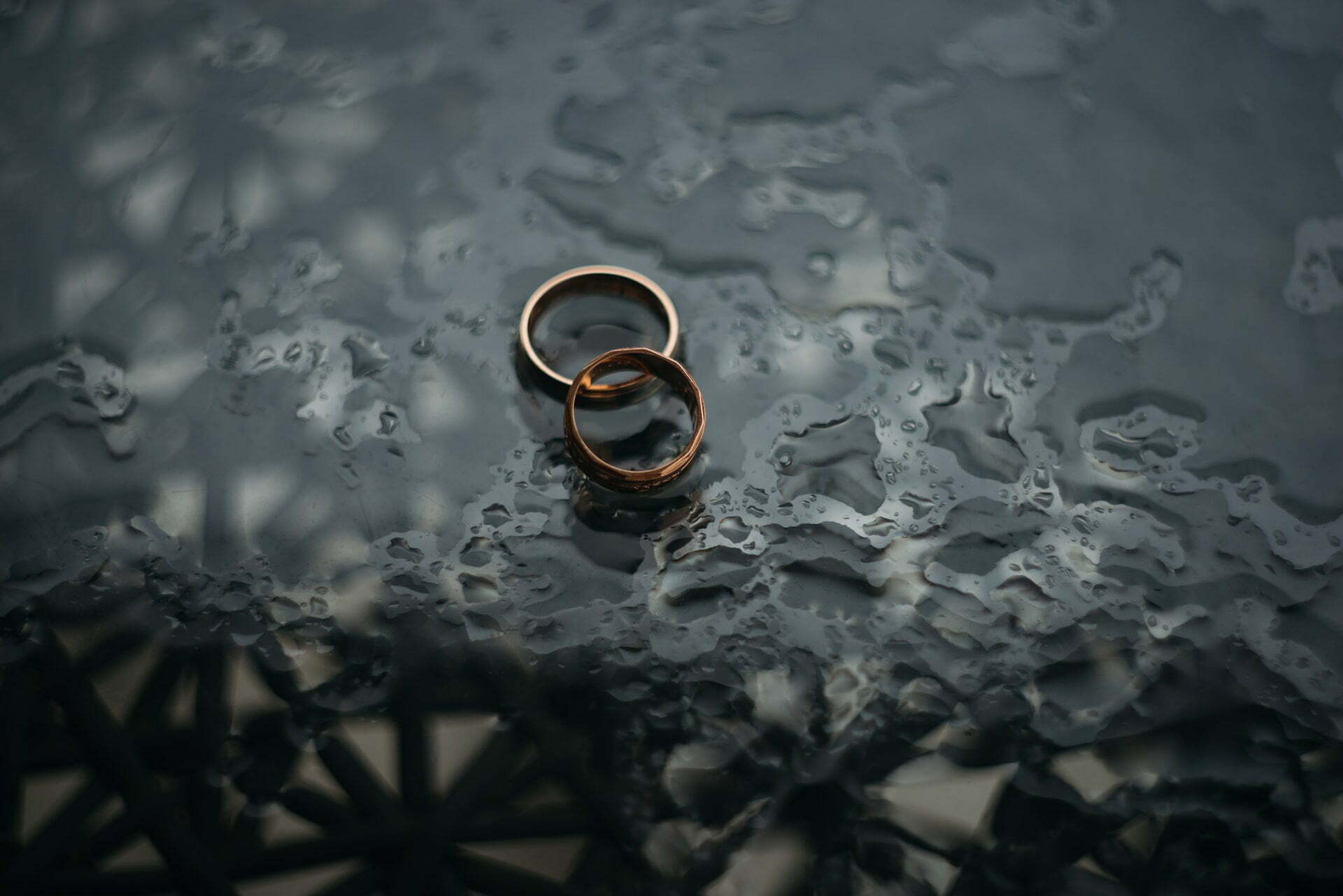 two rings left out in the rain